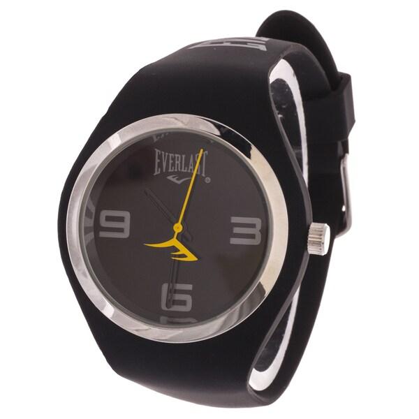 Everlast Slim Black Round Sport Analog Watch With Rubber Strap