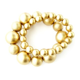 Meridian Goldtone Mult-sized Bead Bracelets