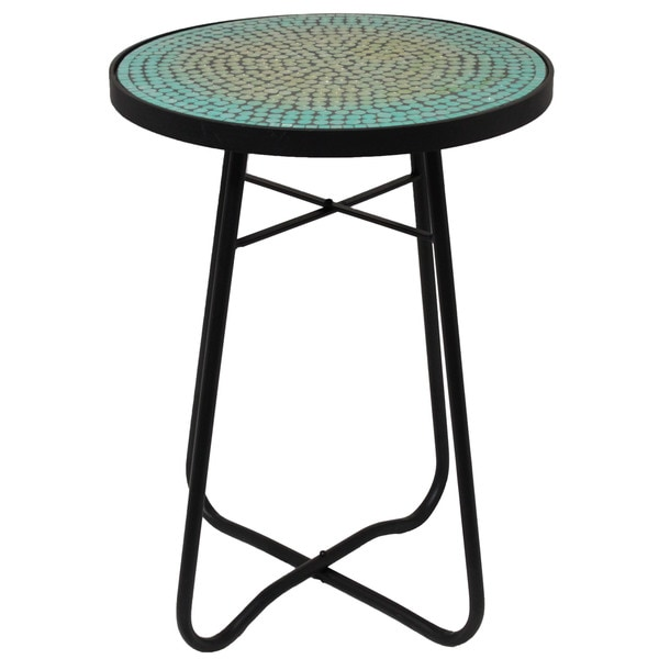 turquoise mosaic patio side accent table 18308389