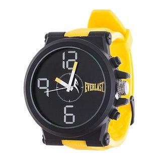 Everlast Jumbo Yellow Round Sport Analog Rubber Watch With Black