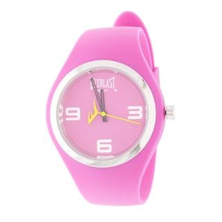 Everlast Slim Pink Round Sport Analog Rubber Watch W/ Silver Ring