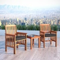 CorLiving Miramar Cinnamon Brown Hardwood 3-Piece Outdoor Chair and Table Set