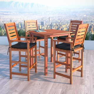 CorLiving Miramar Cinnamon Brown Hardwood 5-Piece Outdoor Bar Height Set