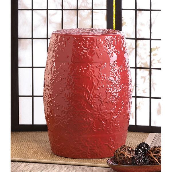 Bergamot Fiery Red Ceramic Stool