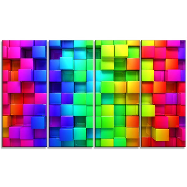 Designart - Rainbow of Colorful Boxes -4 Panels Abstract Canvas Artwork