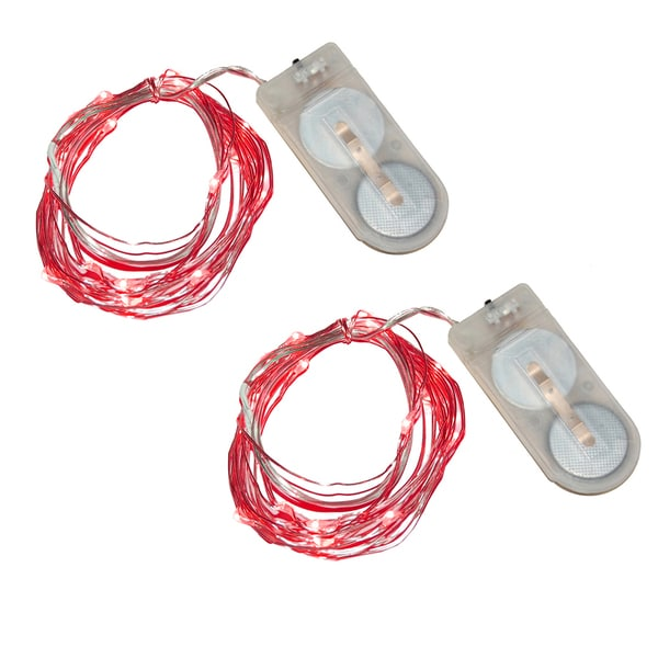 Red Battery Operated Mini String Lights (Set of 2)
