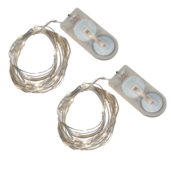 Bright White Battery Operated Mini String Lights (Set of 2)