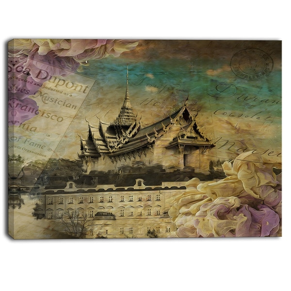Designart - Vintage Style Sky Castle - Contemporary Artwork