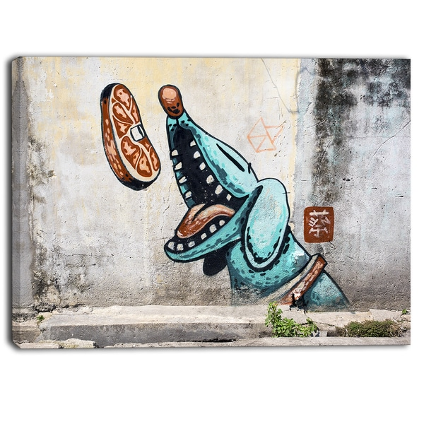 Designart - Street Art George Town - Graffiti Canvas Art Print