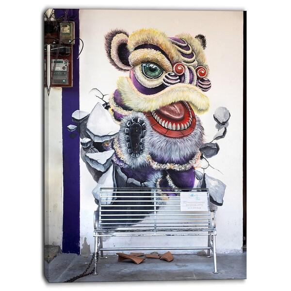 Designart - Chinese New Year Lion Dance - Street Art Canvas Print