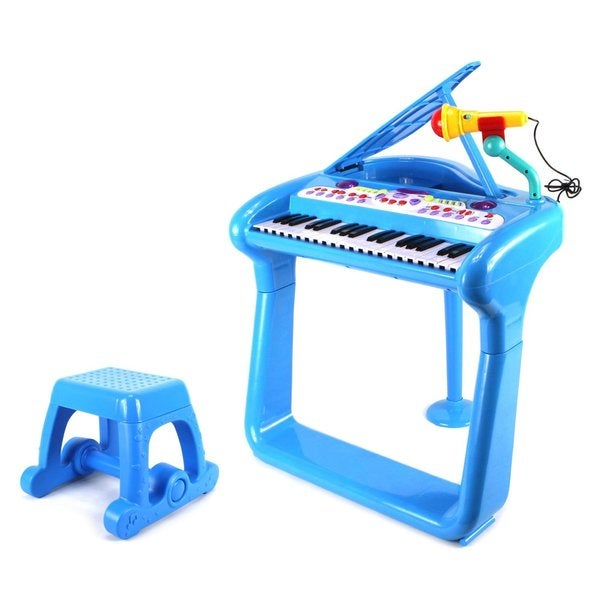 Classical Elegant Piano Children's Musical Toy Blue Keyboard Play Set