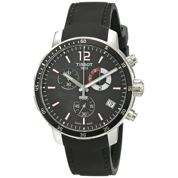 Tissot Men's T0954491705700 'Quickster' Chronograph Black Silicone Watch 17456837