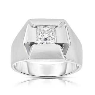 Eloquence 14k White Gold 1 1/3ct TDW Diamond Mens Wedding Ring (K-L, SI1-SI2)