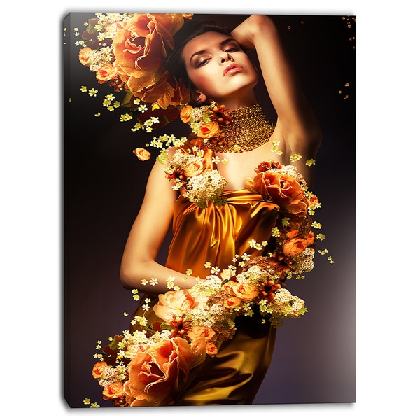 Designart - Sensual Woman in Flower Robes - Portrait Digital Canvas Print