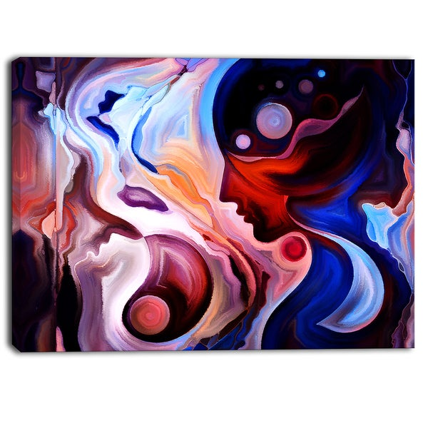 Designart - Watching Woman Painting - Abstract Canvas Art Print