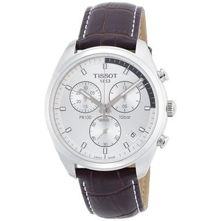 Tissot Men's T1014171603100 'PR 100' Chronograph Brown Leather Watch