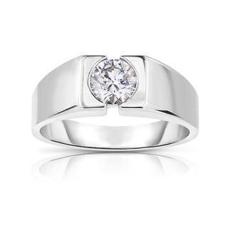 Eloquence 14k White Gold 9/10ct TDW Diamond Mens Wedding Ring (K-L, I1-I2)
