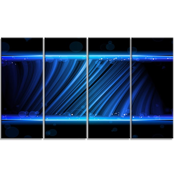 Designart - Disco Blue Waves -4 Panels Contemporary Art Canvas Print