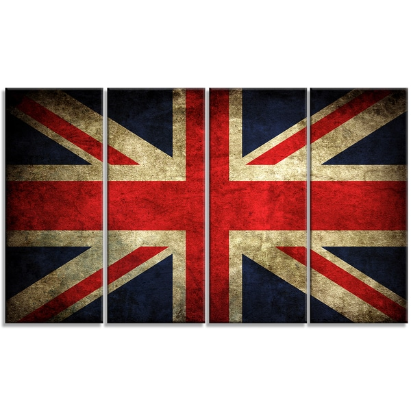Designart - Vintage UK Flag -4 Panels Contemporary Canvas Art Print