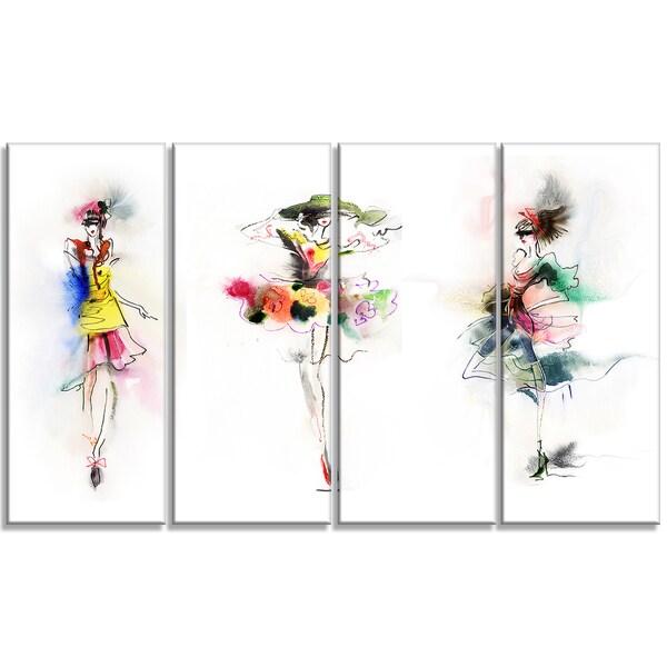 Designart - Fashion Girls Posing -4 Panels Contemporary Canvas Art Print