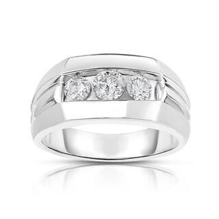 MWI Eloquence 14k White Gold, 1ct TDW Diamond Mens Wedding Ring (H-I, I1-I2)