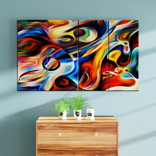 Designart - Abstract Music and Rhythm -4 Panels Abstract Canvas Art Print