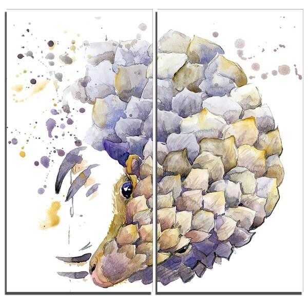 Designart - Armadillo Illustration Art -2 Pieces Animal Canvas Artwork
