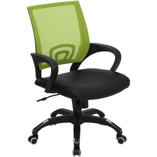 Rerna Green Mesh Swivel Adjustable Office Chair with Black Leather Padded Seat