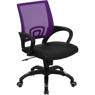 Rerna Purple Mesh Swivel Adjustable Office Chair with Black Leather Padded Seat