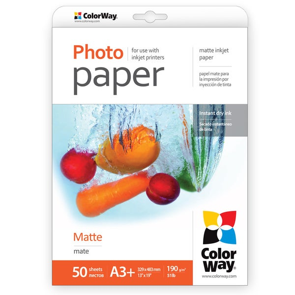 Matte ColorWay Photo Paper 13-inch x 19-inch 50 sheets 51lb 190gsm