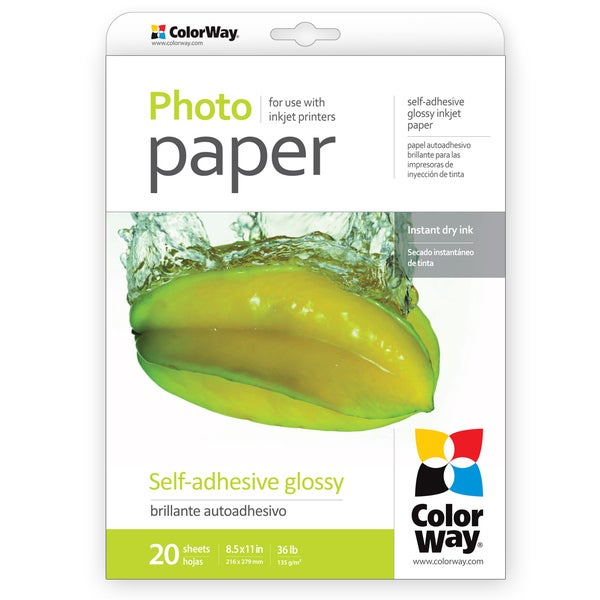Glossy Self-adhesive ColorWay Photo Paper 8.5-inch x 11-inch 20 sheets 36lb 135gsm