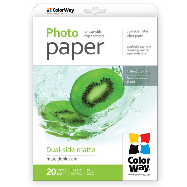 Dual-side Matte ColorWay Photo Paper 8.5-inch x 11-inch 20 sheets 59lb 220gsm