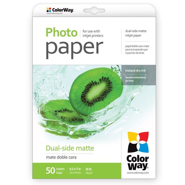 Dual-side Matte ColorWay Photo Paper 8.5-inch x 11-inch 50 sheets 38lb 140gsm