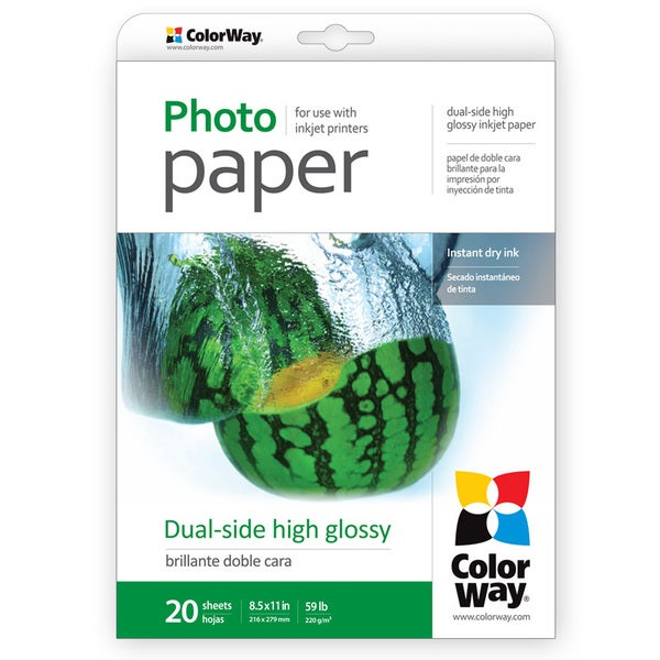Dual-side High Glossy ColorWay Photo Paper 8.5-inch x 11-inch 20 sheets 59lb 220gsm