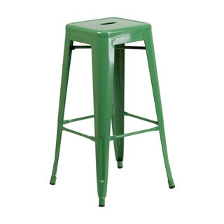 Offex 30'' High Backless Metal Indoor-Outdoor Barstool With Square Seat