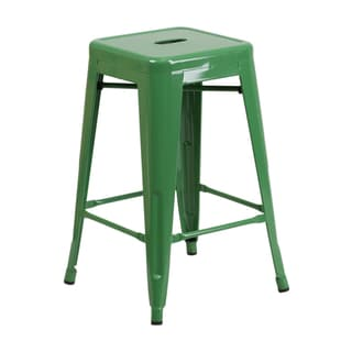 Offex 24'' High Backless Metal Counter Height Stool With Square Seat