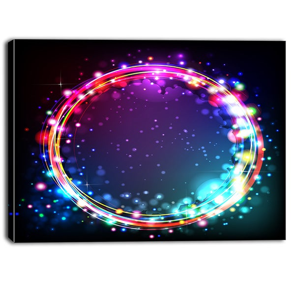 Designart - Purple Blue Circle Lights - Abstract Digital Canvas Art Print