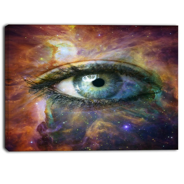 Designart - Human Eye Looking in Universe - Contemporary Canvas Art Print