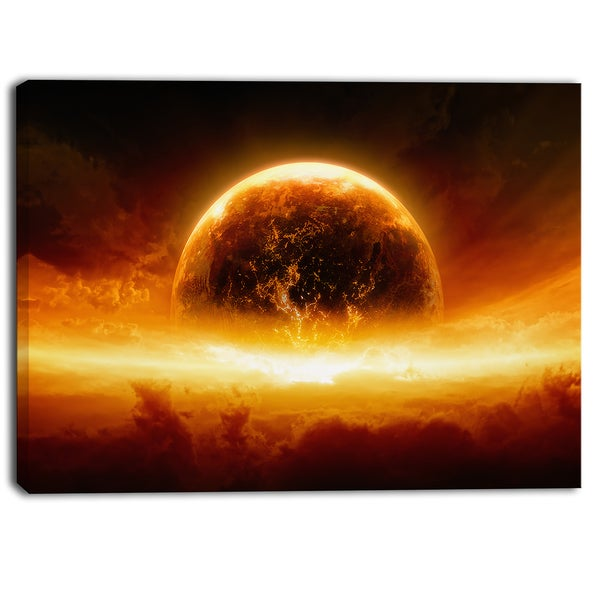 Designart - Planet Earth Explosion - Contemporary Canvas Art Print