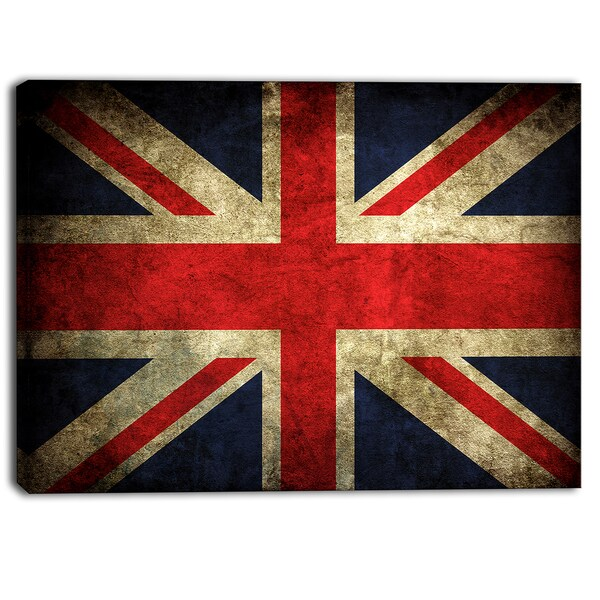 Designart - Vintage UK Flag - Contemporary Canvas Art Print
