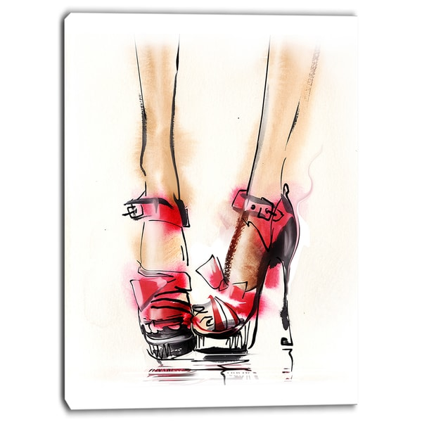 Designart - High Heel Fashion Shoes - Digital Canvas Art Print