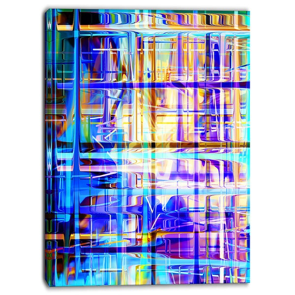 Designart - Blue Abstract Grid - Abstract Digital Canvas Art Print
