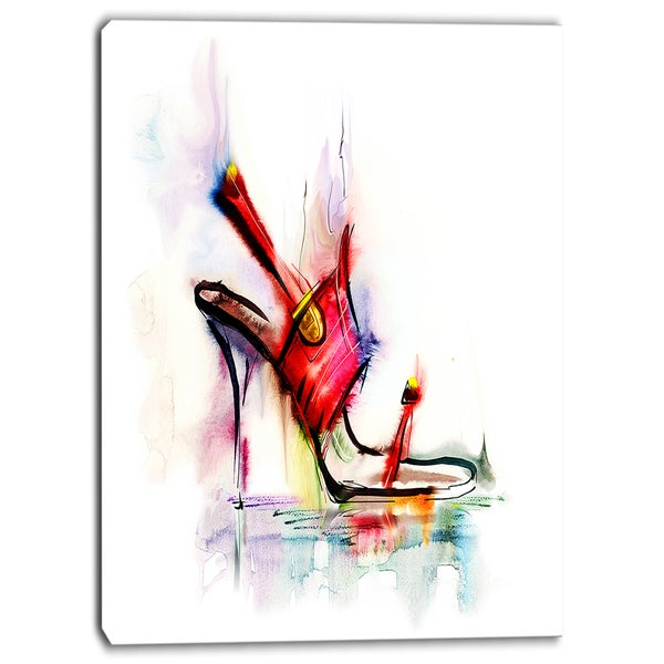 Designart - Red High Heel Shoe - Digital Canvas Art Print