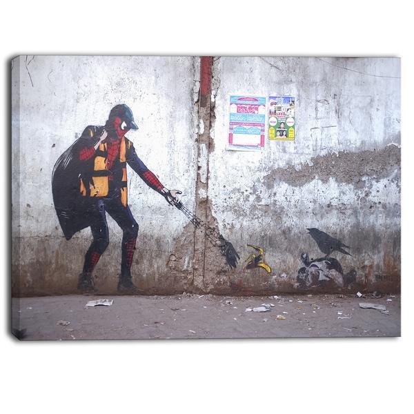 Designart - Spiderman in Dharavi Slum - Street Art Canvas Print 17457551