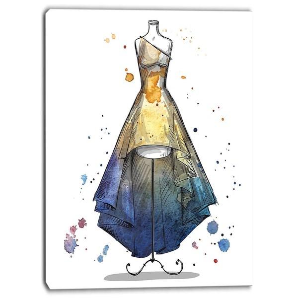 Designart - Mannequin with Long Dress - Digital Canvas Art Print