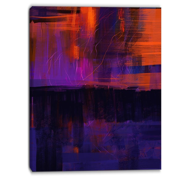 Designart - Blue Vs Red Textures - Abstract Canvas Art Print