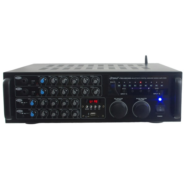 Pyle PMXAKB2000 2000-watt Bluetooth DJ Karaoke Mixer and Amplifier with 2 Microphone Inputs