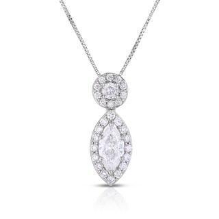 Eloquence 14k White Gold 1ct TDW Marquise Cut Halo Diamond Pendant (H-I, I1+)