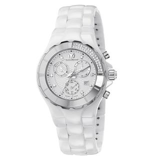 Technomarine Women's Ceramic White Diamond Dial 110031C Cruise Chronograph Watch