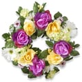 National Tree Company Daisies Roses and Hydrangeas 18-inch Wreath